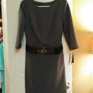 NWT AB Studio Belted 3/4 Sleeve Dress Grey